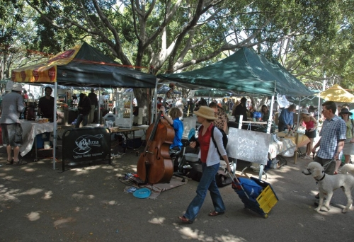 Shoppers and market stalls in the Northey St Organic Markets in Windsor on a Sunday morning.