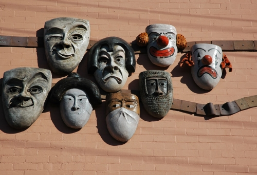 Comedia masks on wall of Brisbane Arts Theatre